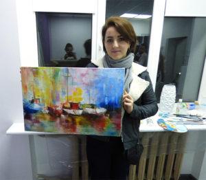 картина мастихином на мастер классе у художника