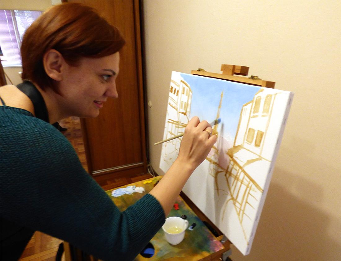 на художественном мастер-классе рисование маслом