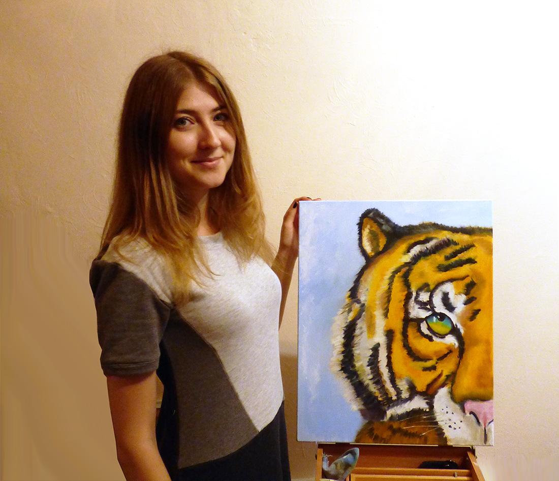 рисовать тигра на мастер-классе
