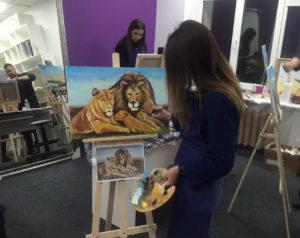 нарисовать львов на мастер классе