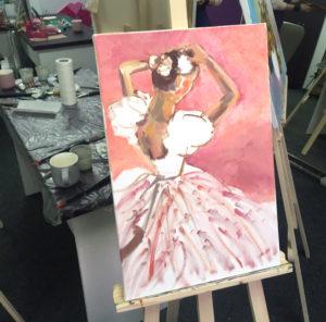 рисовать балерину маслом