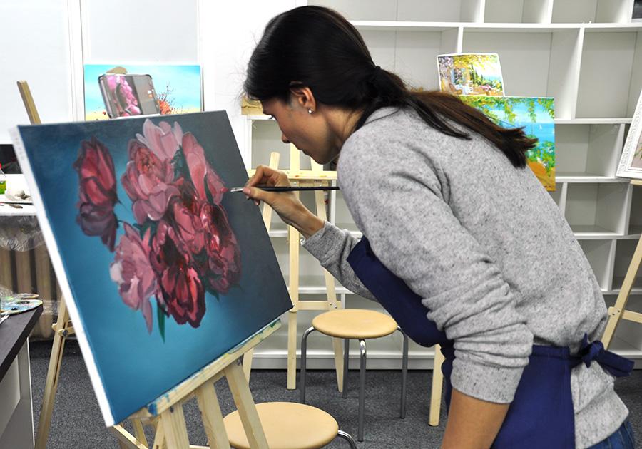 цветы маслом, как рисовать
