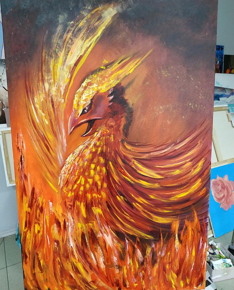 большая картина с огненным фениксом мастер-класс