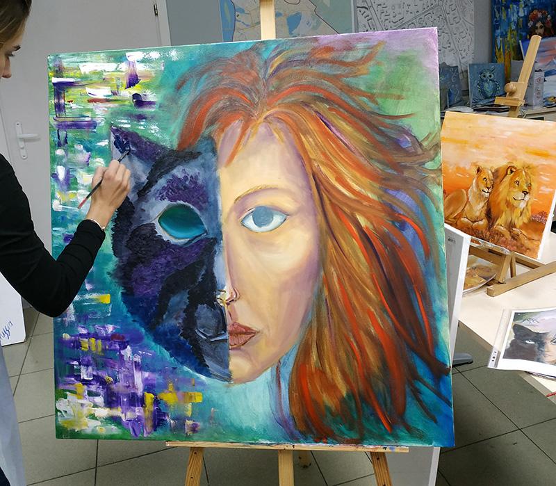 женщина кошка двойной портрет мастер-класс