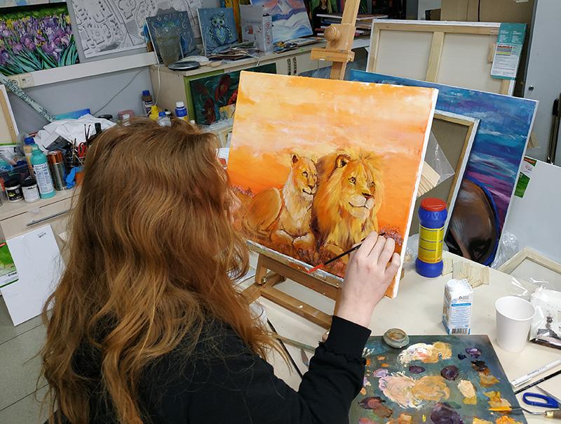 как рисовать льва масляными красками