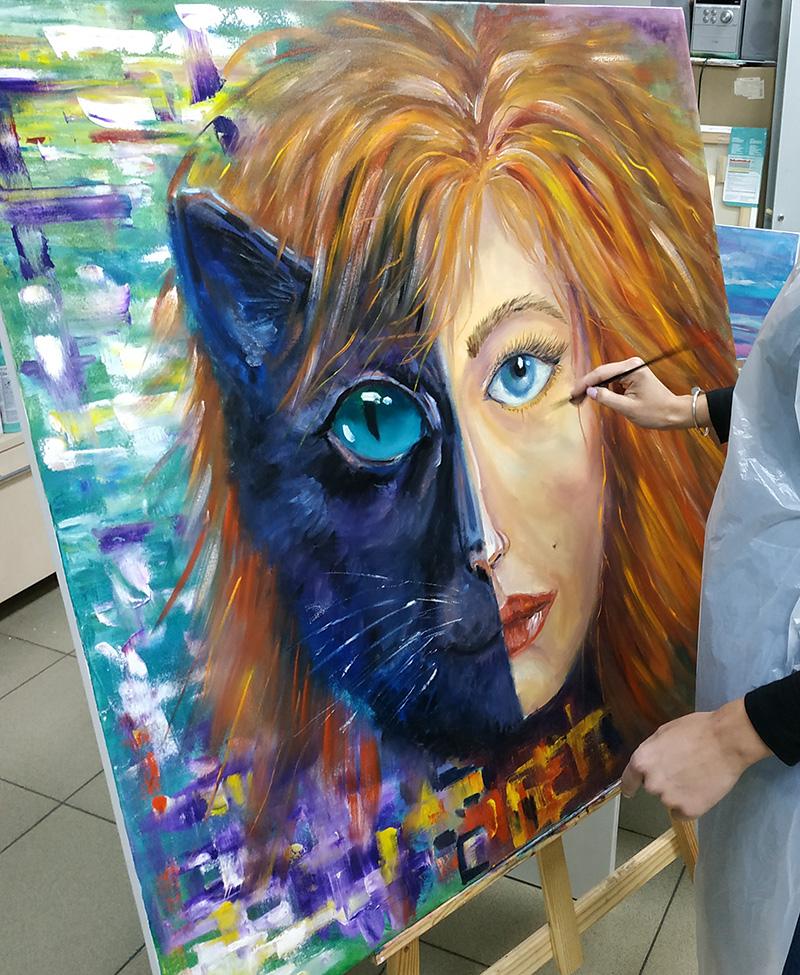 лицо кошки и женщины мастер-класс маслом