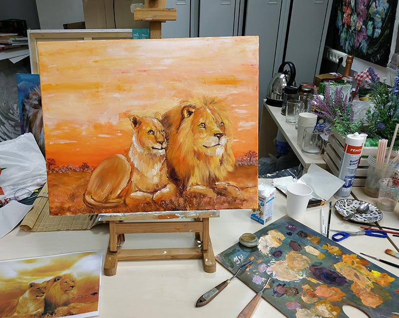 уроки рисования как рисовать льва маслом.